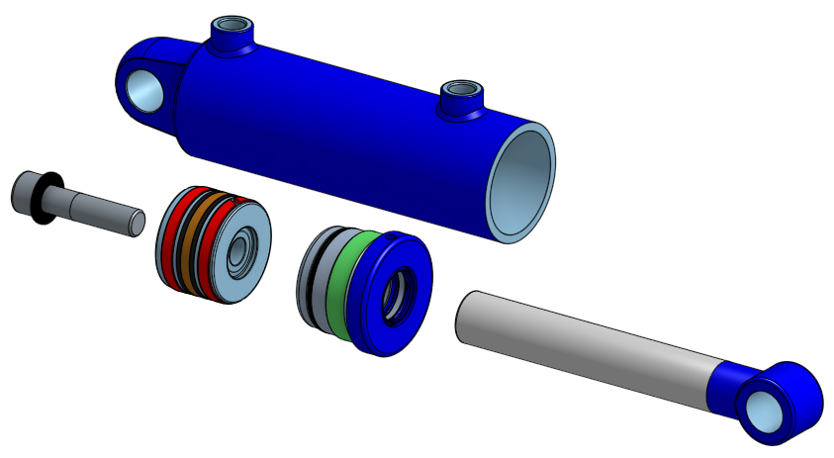 Exploded view of a basic hydraulic cylinder